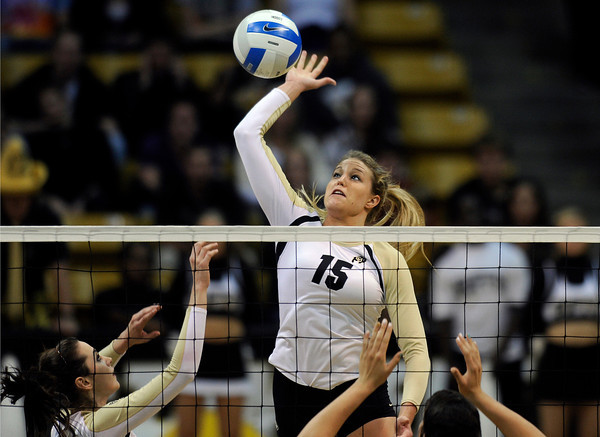 "University of Colorado's Nikki Lindow goes for a kill during a volleyball match against Arizona State on Friday, Oct. 12, at the Coors Event Center on the CU campus in Boulder. For more photos of the match go to  <a href=""http://www.dailycamera.com"">http://www.dailycamera.com</a><br /> Jeremy Papasso/ Camera"