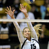 "University of Colorado's Nikki Lindow tries to block a kill during a volleyball match against Arizona State on Friday, Oct. 12, at the Coors Event Center on the CU campus in Boulder. For more photos of the match go to  <a href=""http://www.dailycamera.com"">http://www.dailycamera.com</a><br /> Jeremy Papasso/ Camera"