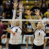 "University of Colorado's Ana Pantovic, No. 2, and Kelsey English, No. 1, try to block a shot from Macey Gardner during a volleyball match against Arizona State on Friday, Oct. 12, at the Coors Event Center on the CU campus in Boulder. For more photos of the match go to  <a href=""http://www.dailycamera.com"">http://www.dailycamera.com</a><br /> Jeremy Papasso/ Camera"