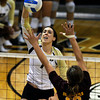 "University of Colorado's Kelsey English goes for a kill over Macey Gardner during a volleyball match against Arizona State on Friday, Oct. 12, at the Coors Event Center on the CU campus in Boulder. For more photos of the match go to  <a href=""http://www.dailycamera.com"">http://www.dailycamera.com</a><br /> Jeremy Papasso/ Camera"