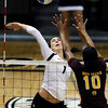 "University of Colorado's Kelsey English goes for a kill over Erica Wilson during a volleyball match against Arizona State on Friday, Oct. 12, at the Coors Event Center on the CU campus in Boulder. For more photos of the match go to  <a href=""http://www.dailycamera.com"">http://www.dailycamera.com</a><br /> Jeremy Papasso/ Camera"