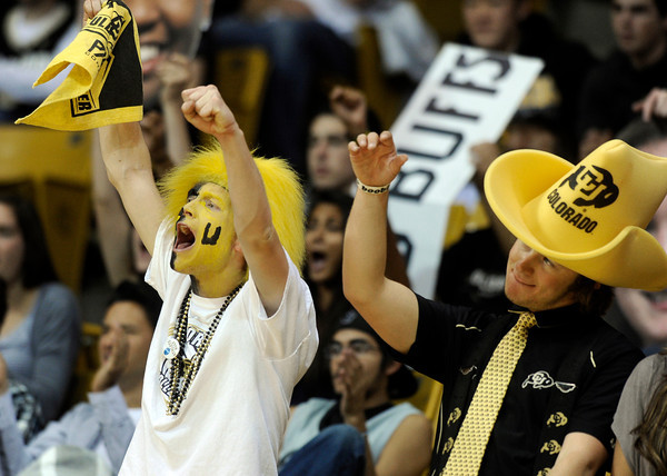 "University of Colorado sophomores John Grotenhuis, left, and Billy Cox cheer after a Buff point during a volleyball match against Arizona State on Friday, Oct. 12, at the Coors Event Center on the CU campus in Boulder. For more photos of the match go to  <a href=""http://www.dailycamera.com"">http://www.dailycamera.com</a><br /> Jeremy Papasso/ Camera"