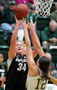 Jen Reese of CU looks to shoot against Sam Martin of CSU. For more photos of CU and CSU, go to www.dailycamera.com. November 20, 2011 / Cliff Grassmick