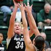 "Jen Reese of CU looks to shoot against Sam Martin of CSU.<br /> For more photos of CU and CSU, go to  <a href=""http://www.dailycamera.com"">http://www.dailycamera.com</a>.<br /> November 20, 2011 / Cliff Grassmick"