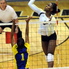 "Alexis Austin of CU hits past Fernanda Goncalves of CSU-Bakersfield on Saturday.<br /> For more photos of the game, go to  <a href=""http://www.dailycamera.com"">http://www.dailycamera.com</a><br /> Cliff Grassmick / September 15, 2012"