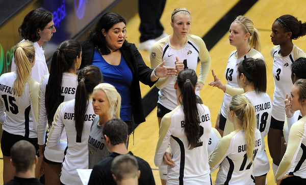 "CU coach Liz Kritza talks to her team in the CSU-Bakersfield game.<br /> For more photos of the game, go to  <a href=""http://www.dailycamera.com"">http://www.dailycamera.com</a><br /> Cliff Grassmick / September 15, 2012"
