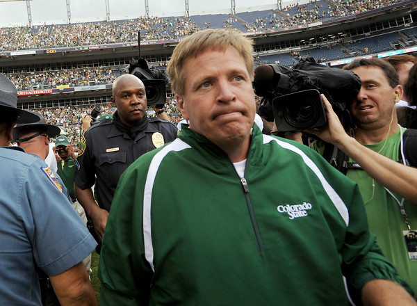 "Jim McElwain walks off the field after the win over CU 22-17 at the Rocky Mountain Showdown at Sports Authority Field in Denver on September 1, 2012.<br /> For more photos of the game, go to  <a href=""http://www.dailycamera.com"">http://www.dailycamera.com</a>.<br /> Cliff Grassmick / September 1, 2012"