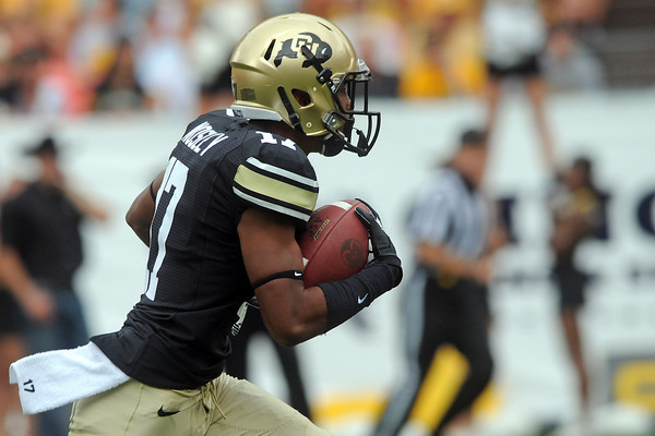 University of Colorado's Marques Mosley returns a kickoff in the first quarter of a game against Colorado State on Saturday, Sept. 1, 2012 at Sports Authority Field at Mile High. (Steve Stoner/Loveland Reporter-Herald)