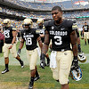 "Doug Rippy (3) of Colorado, walks off the field with teammates after the loss to CSU at  the Rocky Mountain Showdown at Sports Authority Field in Denver on September 1, 2012.<br /> For more photos of the game, go to  <a href=""http://www.dailycamera.com"">http://www.dailycamera.com</a>.<br /> Cliff Grassmick / September 1, 2012"