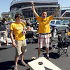 "CU students, Macklin Scheldrop, left, and Brian Mulligan, play bags before the CU CSU game at Sports Authority Field in Denver on Saturday.<br /> For more photos of the game, go to  <a href=""http://www.dailycamera.com"">http://www.dailycamera.com</a>.<br /> Cliff Grassmick / September 1, 2012"