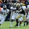 Colorado State's Lee Clubb, left, runs back a kickoff while Colorado's Derrick Webb gives chase in the second quarter of their game on Saturday, Sept. 1, 2012 at Sports Authority Field at Mile High. (Steve Stoner/Loveland Reporter-Herald)