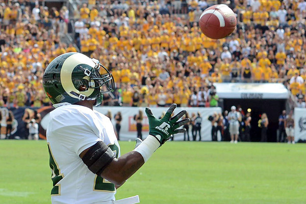 Colorado State wide receiver Dominique Vinson prepares to catch a pass for a touchdown in the second quarter of a game against Colorado on Saturday, Sept. 1, 2012 at Sports Authority Field at Mile High. (Steve Stoner/Loveland Reporter-Herald)