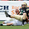 """University of Colorado quarterback Jordan Webb is sacked by Max Morgan during the Rocky Mountain Showdown against Colorado State University on Saturday, Sept. 1, at Sports Authority Field at Mile High in Denver. CSU won the game 22-17. For more photos of the game go to  <a href=""""http://www.dailycamera.com"""">http://www.dailycamera.com</a><br /> Jeremy Papasso/ Camera"""