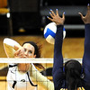 """Kelsey English of CU hits into Christina Higgins of Cal.<br /> For more photos of the game, go to  <a href=""""http://www.dailycamera.com"""">http://www.dailycamera.com</a><br /> Cliff Grassmick / September 22, 2012"""