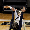 "Kelsey English of CU hits against Adrienne Gehan of Cal.<br /> For more photos of the game, go to  <a href=""http://www.dailycamera.com"">http://www.dailycamera.com</a><br /> Cliff Grassmick / September 22, 2012"