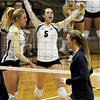 "Nicole Edelman (5) of CU, celebrates a point against Cal.<br /> For more photos of the game, go to  <a href=""http://www.dailycamera.com"">http://www.dailycamera.com</a><br /> Cliff Grassmick / September 22, 2012"
