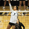 "Neira Ortiz Ruiz of CU hits against Lara Vukasovic of Cal.<br /> For more photos of the game, go to  <a href=""http://www.dailycamera.com"">http://www.dailycamera.com</a><br /> Cliff Grassmick / September 22, 2012"