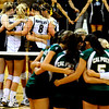 The CU Buff Volleyball team and the Cal Poly team both talk before the CU vs. Cal Poly volleyball game at CU-Boulder on Saturday, Sept. 12, 2009.