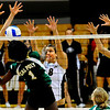 "CU Buffs Rosie Steinhaus, from left, Nikki Kinzer and Kerra Schroeder jump to block a ball spiked by Cal Poly Mustang Dominique Olowolafe at the CU vs. Cal Poly volleyball game at CU-Boulder on Saturday, Sept. 12, 2009.  More photos at  <a href=""http://www.dailycamera.com"">http://www.dailycamera.com</a>."
