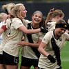 "University of Colorado's Anne Stuller, left, is hugged by teammate Olivia Pappalardo after scoring a goal during a soccer game against the California Golden Bears on Friday, Oct. 5, at Prentup Field in Boulder. For more photos of the game go to  <a href=""http://www.dailycamera.com"">http://www.dailycamera.com</a><br />  Jeremy Papasso/ Camera"