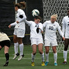 "University of California's Taylor Comeau, No. 21, ducks out of the way of a CU corner kick allowing a goal during a soccer game against the University of Colorado on Friday, Oct. 5, at Prentup Field in Boulder. For more photos of the game go to  <a href=""http://www.dailycamera.com"">http://www.dailycamera.com</a><br />  Jeremy Papasso/ Camera"