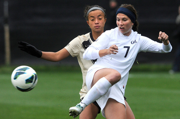 """University of Colorado's Bianco Jones, left, fights for the ball with Rachel Mercik during a soccer game against the California Golden Bears on Friday, Oct. 5, at Prentup Field in Boulder. For more photos of the game go to  <a href=""""http://www.dailycamera.com"""">http://www.dailycamera.com</a><br />  Jeremy Papasso/ Camera"""