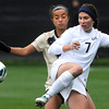 "University of Colorado's Bianco Jones, left, fights for the ball with Rachel Mercik during a soccer game against the California Golden Bears on Friday, Oct. 5, at Prentup Field in Boulder. For more photos of the game go to  <a href=""http://www.dailycamera.com"">http://www.dailycamera.com</a><br />  Jeremy Papasso/ Camera"