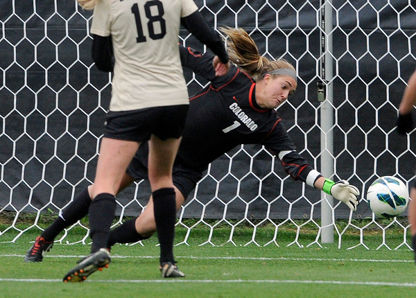"""University of Colorado goalkeeper Annie Brunner allows a goal during a soccer game against the California Golden Bears on Friday, Oct. 5, at Prentup Field in Boulder. For more photos of the game go to  <a href=""""http://www.dailycamera.com"""">http://www.dailycamera.com</a><br />  Jeremy Papasso/ Camera"""