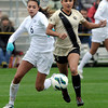 "University of Colorado's Olivia Pappalardo, right, moves the ball past Kaitlyn Fitzpatrick during a soccer game against the California Golden Bears on Friday, Oct. 5, at Prentup Field in Boulder. For more photos of the game go to  <a href=""http://www.dailycamera.com"">http://www.dailycamera.com</a><br />  Jeremy Papasso/ Camera"
