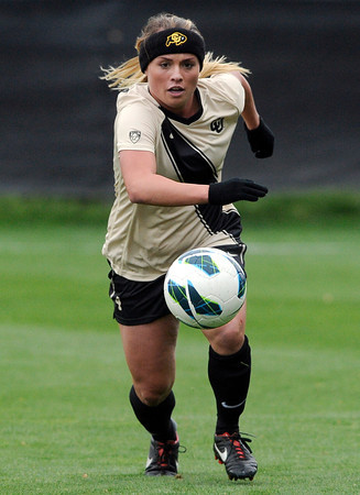"University of Colorado's Madison Krauser moves the ball up the field during a soccer game against the California Golden Bears on Friday, Oct. 5, at Prentup Field in Boulder. For more photos of the game go to  <a href=""http://www.dailycamera.com"">http://www.dailycamera.com</a><br />  Jeremy Papasso/ Camera"