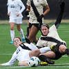 "University of Colorado's Emily Paxton slides after the ball alongside Taylor Comeau, No. 21, during a soccer game against the California Golden Bears on Friday, Oct. 5, at Prentup Field in Boulder. For more photos of the game go to  <a href=""http://www.dailycamera.com"">http://www.dailycamera.com</a><br />  Jeremy Papasso/ Camera"