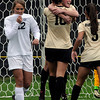 "University of Colorado's Amy Barczuk, No 10, gets a hug from teammate Hayley Hughes after scoring a goal in front of Samantha Walker, No. 12, during a soccer game against the California Golden Bears on Friday, Oct. 5, at Prentup Field in Boulder. For more photos of the game go to  <a href=""http://www.dailycamera.com"">http://www.dailycamera.com</a><br />  Jeremy Papasso/ Camera"