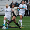 "University of Colorado's Olivia Pappalardo fights for the ball with Betsy Hassett, No. 10, during a soccer game against the California Golden Bears on Friday, Oct. 5, at Prentup Field in Boulder. For more photos of the game go to  <a href=""http://www.dailycamera.com"">http://www.dailycamera.com</a><br />  Jeremy Papasso/ Camera"