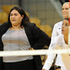 "CU volleyball coach, Liz Kritza, before the match with Cal.<br /> For more photos of CU and Cal, go to  <a href=""http://www.dailycamera.com"">http://www.dailycamera.com</a>.<br /> November 5, 2011 / Cliff Grassmick"