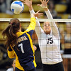 "Nikki Lindow  of CU blocks the shot of  Shannon Hawari of Cal.<br /> For more photos of CU and Cal, go to  <a href=""http://www.dailycamera.com"">http://www.dailycamera.com</a>.<br /> November 5, 2011 / Cliff Grassmick"