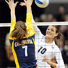 "Anicia Santos of CU tries to hit past Shannon Hawari of Cal.<br /> For more photos of CU and Cal, go to  <a href=""http://www.dailycamera.com"">http://www.dailycamera.com</a>.<br /> November 5, 2011 / Cliff Grassmick"