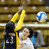 "Kelsey English of CU, tries to get the ball past Christina Higgins of Cal.<br /> For more photos of CU and Cal, go to  <a href=""http://www.dailycamera.com"">http://www.dailycamera.com</a>.<br /> November 5, 2011 / Cliff Grassmick"