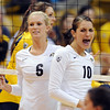 "Kerra Schroeder, left, and Anicia Santos, of CU, get excited about a point against Cal.<br /> For more photos of CU and Cal, go to  <a href=""http://www.dailycamera.com"">http://www.dailycamera.com</a>.<br /> November 5, 2011 / Cliff Grassmick"
