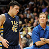 """Fort Lewis College Head Coach Bob Hofman talks with Matt Morris during a game against the University of Colorado on Friday, Nov. 11, at the Coors Event Center on the CU campus in Boulder. CU won the game 85-57. For more photos of the game go to  <a href=""""http://www.dailycamera.com"""">http://www.dailycamera.com</a><br /> Jeremy Papasso/ Camera"""