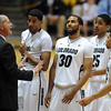 CU coach, Tad Boyle, tries to settle down the players late in the Georgia game.<br /> November 28, 2011 / Cliff Grassmick