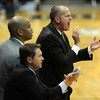 CU coach, Tad Boyle, right, is happy with the effort against Georgia.<br /> <br />  November 28, 2011 / Cliff Grassmick