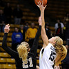 """University of Colorado's Julie Seabrook wins the tip off against Idaho's Jessica Graham on Sunday, Dec. 4, during a game against the University of Idaho at the Coors Event Center on the CU campus in Boulder. CU won the game 68-59. For more photos of the game go to  <a href=""""http://www.dailycamera.com"""">http://www.dailycamera.com</a><br /> Jeremy Papasso/ Camera"""