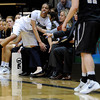"University of Colorado's Chucky Jeffery goes flying into the bench after  saving a ball from going out of bounds on Sunday, Dec. 4, during a game against the University of Idaho at the Coors Event Center on the CU campus in Boulder. CU won the game 68-59. For more photos of the game go to  <a href=""http://www.dailycamera.com"">http://www.dailycamera.com</a><br /> Jeremy Papasso/ Camera"