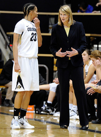 """University of Colorado's Chucky Jeffery listens carefully to Head Coach Linda Lappe on Sunday, Dec. 4, during a game against the University of Idaho at the Coors Event Center on the CU campus in Boulder. CU won the game 68-59. For more photos of the game go to  <a href=""""http://www.dailycamera.com"""">http://www.dailycamera.com</a><br /> Jeremy Papasso/ Camera"""