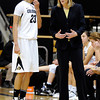 "University of Colorado's Chucky Jeffery listens carefully to Head Coach Linda Lappe on Sunday, Dec. 4, during a game against the University of Idaho at the Coors Event Center on the CU campus in Boulder. CU won the game 68-59. For more photos of the game go to  <a href=""http://www.dailycamera.com"">http://www.dailycamera.com</a><br /> Jeremy Papasso/ Camera"