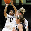 """University of Colorado's Brittany Wilson takes a shot on Sunday, Dec. 4, during a game against the University of Idaho at the Coors Event Center on the CU campus in Boulder. CU won the game 68-59. For more photos of the game go to  <a href=""""http://www.dailycamera.com"""">http://www.dailycamera.com</a><br /> Jeremy Papasso/ Camera"""