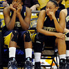 """Northern Arizona's Shay May, left, and another player, not listed on roster, show their emotion in the final seconds of the game against the University of Colorado on Friday, Nov. 11, at the Coors Event Center on the CU campus in Boulder. CU won the game 84-60. For more photos of the game go to  <a href=""""http://www.dailycamera.com"""">http://www.dailycamera.com</a><br /> Jeremy Papasso/ Camera"""