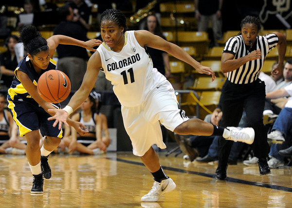 "University of Colorado's Brittany Wilson steals the ball from Northern Arizona's Paige Haynes during a game against Northern Arizona on Friday, Nov. 11, at the Coors Event Center on the CU campus in Boulder. CU won the game 84-60. For more photos of the game go to  <a href=""http://www.dailycamera.com"">http://www.dailycamera.com</a><br /> Jeremy Papasso/ Camera"