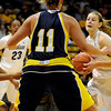 "University of Colorado's Lexy Kresl, right, drives towards the hoop during a game against Northern Arizona on Friday, Nov. 11, at the Coors Event Center on the CU campus in Boulder. CU won the game 84- 60. For more photos of the game go to  <a href=""http://www.dailycamera.com"">http://www.dailycamera.com</a><br /> Jeremy Papasso/ Camera"