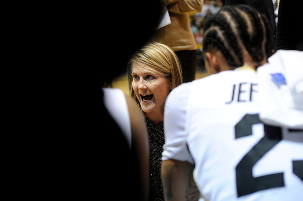 "University of Colorado Head Coach Linda Lappe talks to the Buff's during a time out in a game against Northern Arizona on Friday, Nov. 11, at the Coors Event Center on the CU campus in Boulder. CU won the game 84-60. For more photos of the game go to  <a href=""http://www.dailycamera.com"">http://www.dailycamera.com</a><br /> Jeremy Papasso/ Camera"